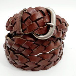 A E O Women's M/L Brown Braided Leather Belt